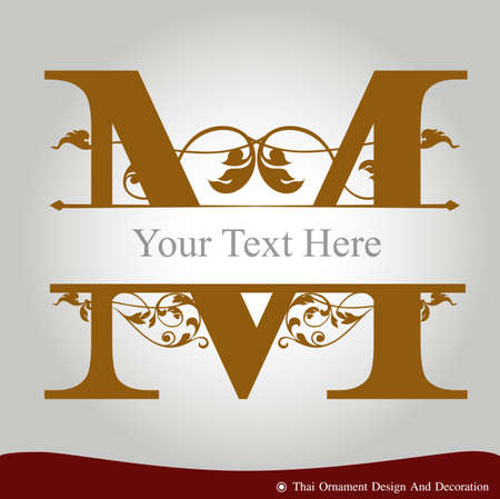 Vector of Letter M in the old vintage style. ABC concept type as icon. Typography design Vettoriali