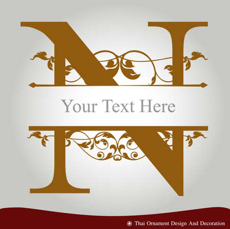 n: Vector of Letter N in the old vintage style. ABC concept type as icon. Typography design Illustration