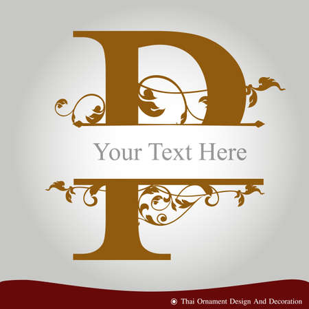metallic letters: Vector of Letter P in the old vintage style. ABC concept type as logo. Typography design Illustration