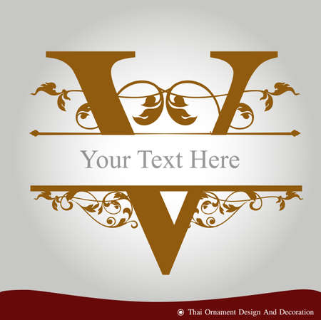 Vector of Letter V in the old vintage style. ABC concept type as icon. Typography design