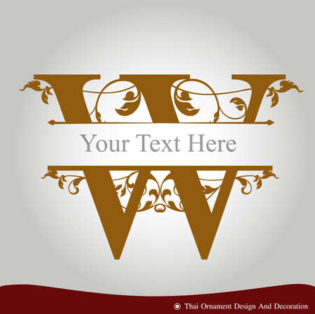 letter w: Vector of Letter W in the old vintage style. ABC concept type as icon. Typography design