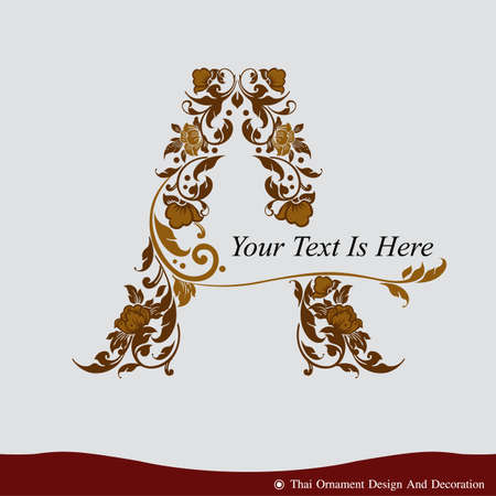 Vector of Letter A in the old vintage style. ABC concept type as logo. Typography design