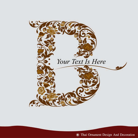 Vector of Letter B in the old vintage style. ABC concept type as logo. Typography design