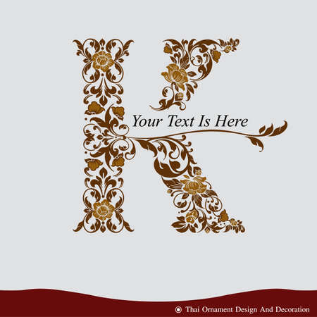 gold letter: Vector of Letter K in the old vintage style. ABC concept type as icon. Typography design Illustration