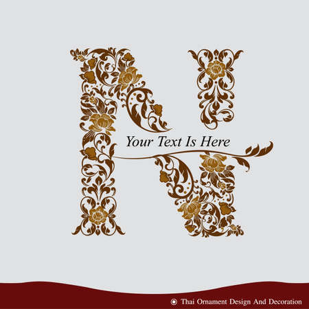 gold letter: Vector of Letter N in the old vintage style. ABC concept type as icon. Typography design Illustration