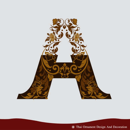Vector of Letter A in the old vintage style. ABC concept type as icon. Typography design
