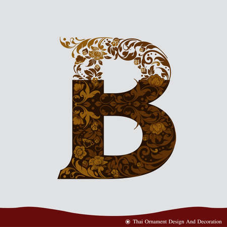 b: Vector of Letter B in the old vintage style. ABC concept type as icon. Typography design Illustration