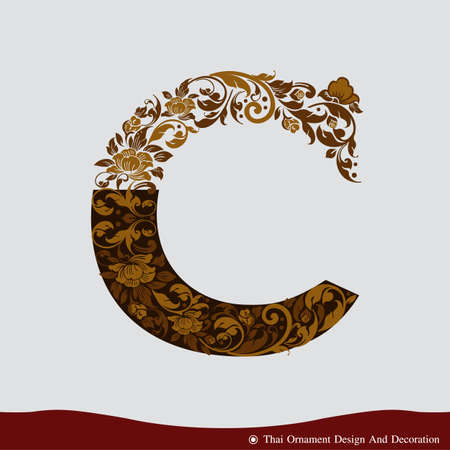 c to c: Vector of Letter C in the old vintage style. ABC concept type as icon. Typography design