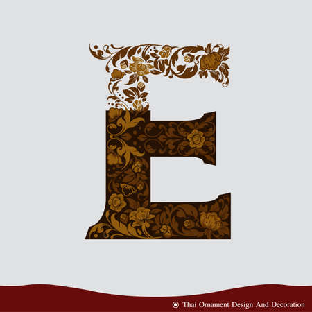 Vector of Letter E in the old vintage style. ABC concept type as icon. Typography design Ilustração