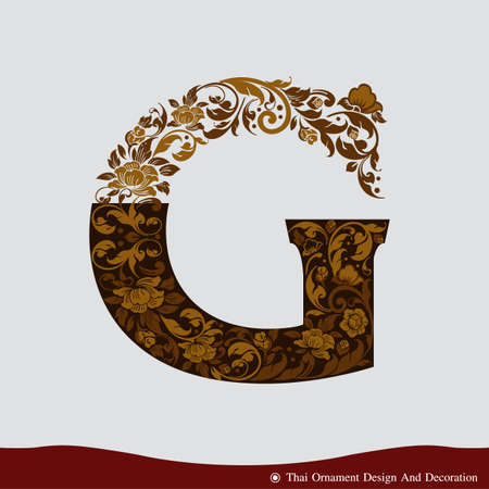 Vector of Letter G in the old vintage style. ABC concept type as icon. Typography design
