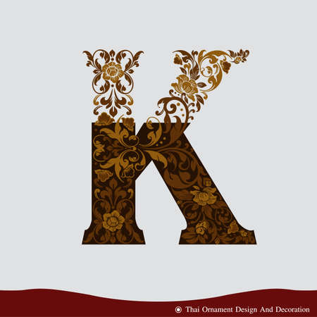 Vector of Letter K in the old vintage style. ABC concept type as logo. Typography design Illustration
