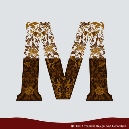 Vector of Letter M in the old vintage style. ABC concept type as icon. Typography design Ilustração