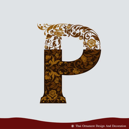 gold letter: Vector of Letter P in the old vintage style. ABC concept type as icon. Typography design