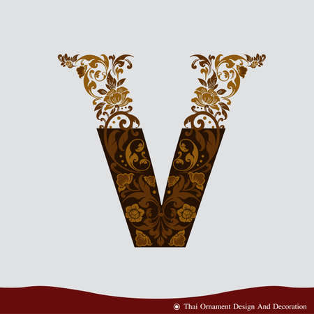 Vector of Letter V in the old vintage style. ABC concept type as logo. Typography design Ilustração
