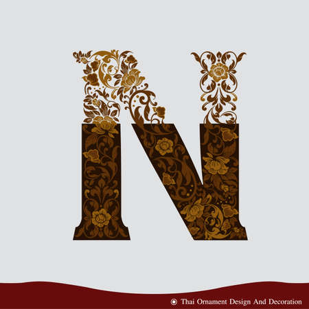 typography vector: Vector of Letter N in the old vintage style. ABC concept type as icon. Typography design Illustration