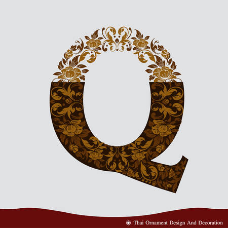 Vector of Letter Q in the old vintage style. ABC concept type as icon. Typography design