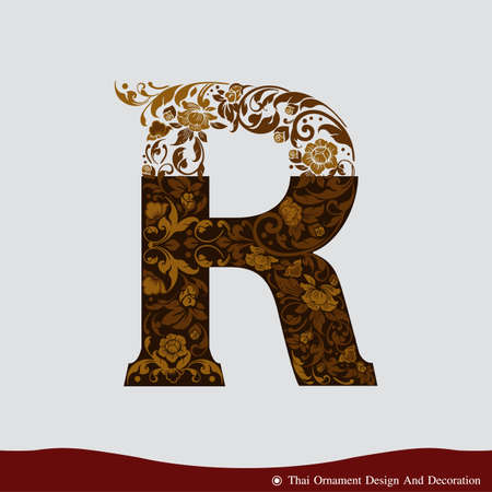 Vector of Letter R in the old vintage style. ABC concept type as logo. Typography design