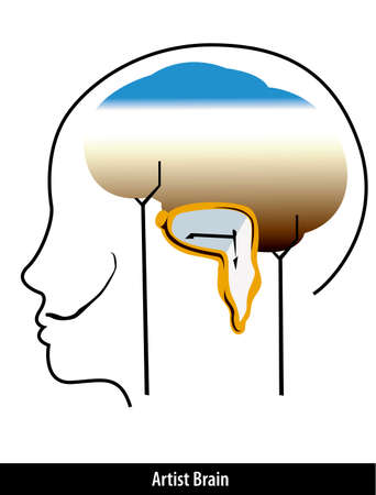 dali: artist brain with paint strokes stock vector
