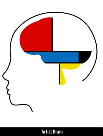 mondrian: artist brain with paint strokes stock vector