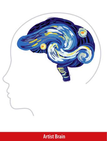 artist brain with paint strokes stock vector