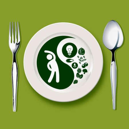 yin y yan: Vector del símbolo de Yin yang en la placa blanca con la cuchara y el tenedor sobre fondo verde concepto equilibrado Vectores