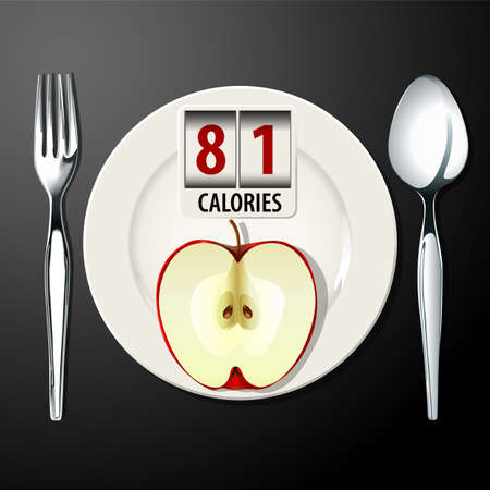 the calories: Vector of Calories in Apple Illustration