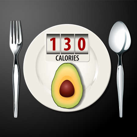 good cholesterol: Vector of Calories in Avocado Illustration