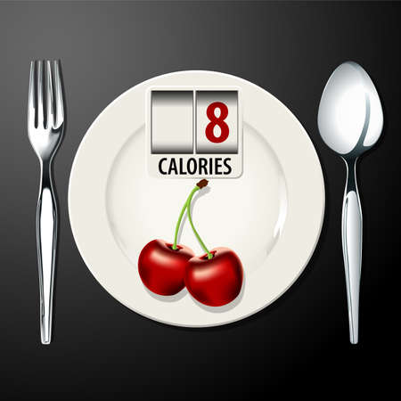 number plate: Vector of Calories in Cherry