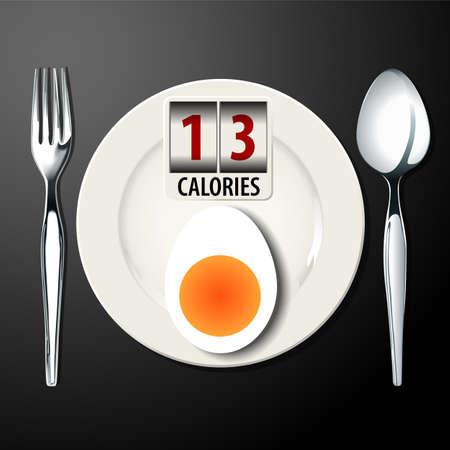 boil: Vector of Calories in Egg boil Illustration