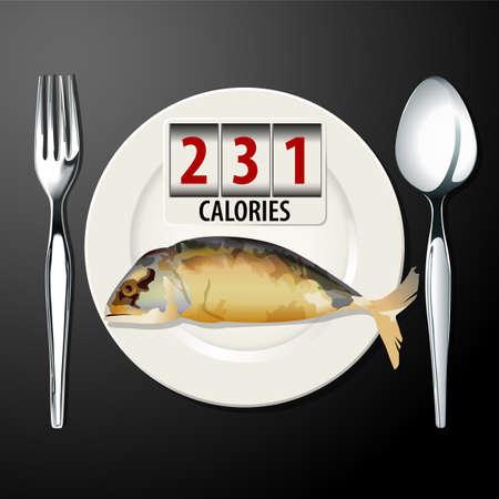 mackerel: Vector of Calories in Mackerel Illustration