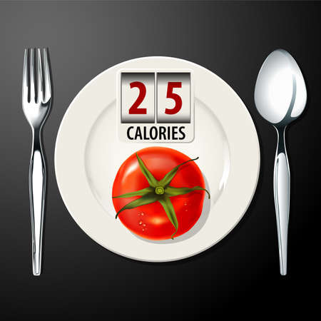 calories: Vector of Calories in Tomato Illustration