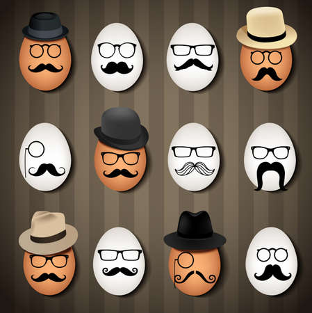 fasching: Vector illustrator many hipster eggs on brown background