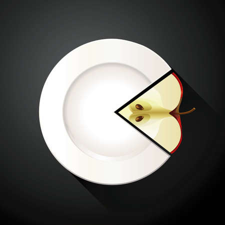 apple slice: Vector of White Plate and Apple Pie Chart