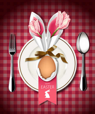 Vector illustrator of Easter table setting. Napkin rabbit form with flower and egg on white plate with spoon and fork. Vector