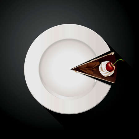 Vector of Pie chart of White plate and Cake slices. EPS10. Vector