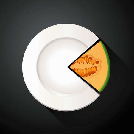 quarters: Vector of White Plate and Cantaloupe Pie Chart Info Graphic
