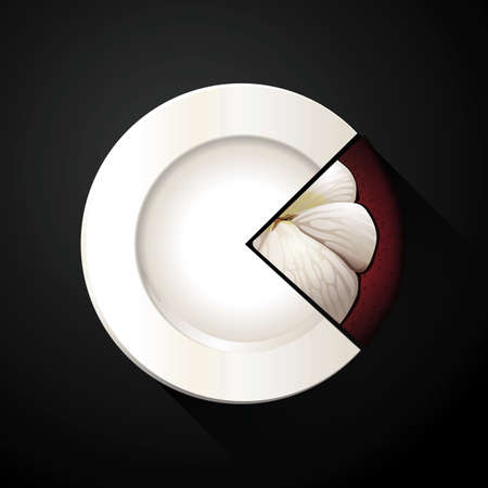 mangosteen: Vector of White Plate and Mangosteen Pie Chart Illustration