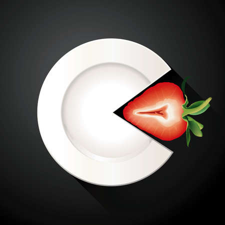 white plate: Vector of White Plate and Strawberry Pie Chart Info Graphic Illustration