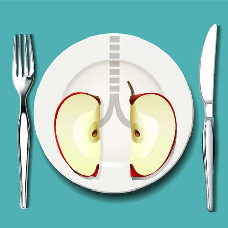asma: Vector de mejor alimento para sus pulmones. La elecci�n de alimentos inteligentes pueden ayudarle a respirar mejor si usted tiene asma. Vectores
