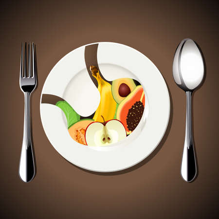 white plate: Vector of food in Stomach on white plate with spoon and fork