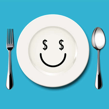 Vector of dollar sign in the eyes on white plate with spoon and fork on blue background Vector