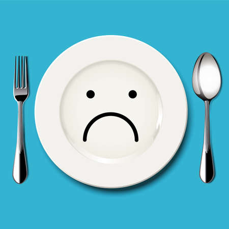 sorrowful: Vector of sad face draw on white plate with spoon and fork on blue background