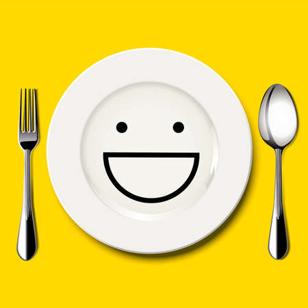 Vector of smile face draw on white plate with spoon and fork on yellow background Ilustração