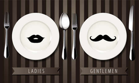 Vector of Retro vintage gentlemen and ladies sign symbols on plate. table setting concept. Vector