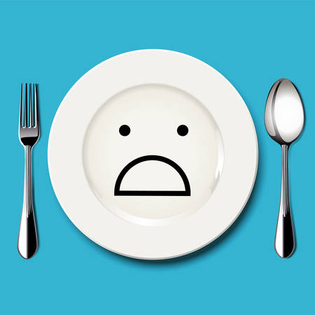 sorrowful: Vector of horror face draw on white plate with spoon and fork on blue background