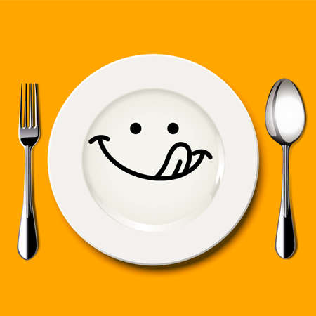 Vector of hungry face draw on white plate with spoon and fork on yellow background Illusztráció