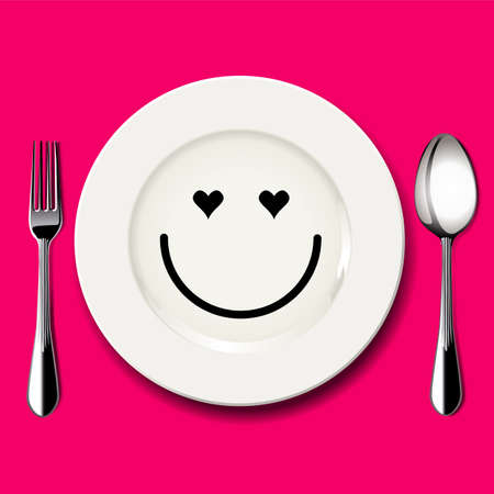 sorrowful: Vector of love face draw on white plate with spoon and fork on pink background Illustration