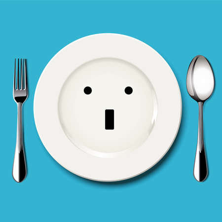 wonder: Vector of wonder face draw on white plate with spoon and fork on blue background Illustration