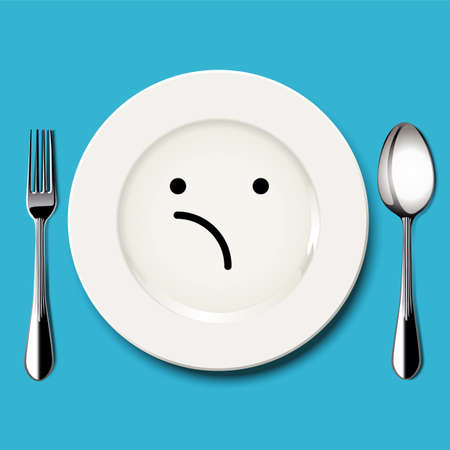 unsure: Vector of unsure face draw on white plate with spoon and fork on blue background