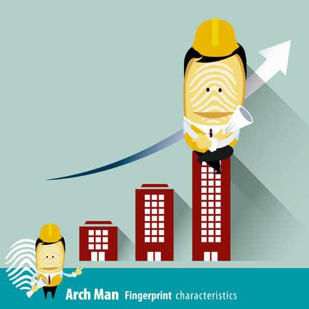 characteristics: Vector of Fingerprint Man Characteristics Series. Engineers with Building Data.